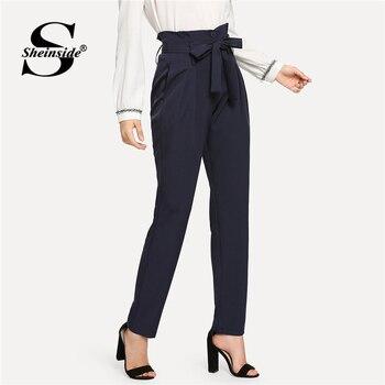 Sheinside Adaptados Calças de Cintura Alta Com Cinto de segurança Workwear Calças Plissado 2018 Outono Das Mulheres Elegante Senhora Do Escritório Marinha Calças Compridas