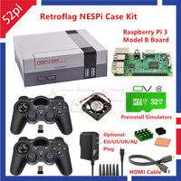 52Pi Retroflag NESPI Case With Raspberry Pi 3 32G Card Fan 2pcs Wrieless Gamepad Power Adapter