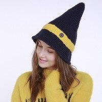 Mode Kleine puntige haar hoed vrouwen knit hoed winter po Heap caps warm Houden Ski kasjmier meerdere Colour Halloween Heks hoed