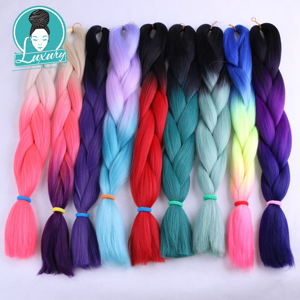 Hair Extensions & Wigs Frank Luxury For Braiding Ombre Kanelaon Hair Pieces 8pcs/lot 100g/pc 24 Grey Purple Ombre 100 Colors Synthetic Jumbo Braids