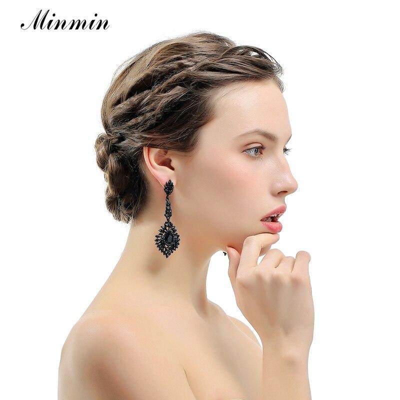 Minmin Vintage Schwarz Lange Kronleuchter Ohrringe für Frauen - Modeschmuck - Foto 3