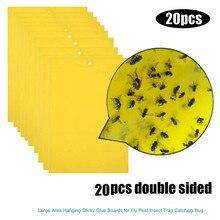 20 pcs 강한 파리 트랩 버그 스티커 보드 잡기 진딧불 곤충 해충 킬러 편리하고 실용적인 가정용 핫 세일