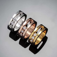 Classic Messika Three Gold Color Pave Setting Move Zircon Stainless Steel Love Rings Bijoux Women Lady