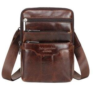 Image 1 - Bandolera de hombro de cuero Vintage para hombre, bolso de viaje, de negocios, negro