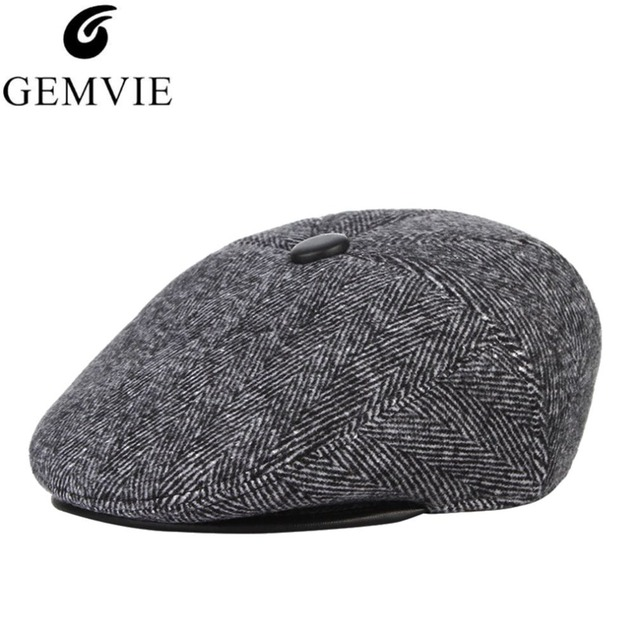 3 Colors Vintage Warm Woolen Men Beret Hat Winter Earflaps Flat Caps Ear  Protect Male Berets 768965afaae