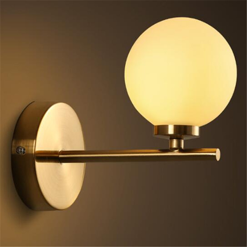 Post-modern Simple Plated Iron Glass Ball Led G4 Wall Lamp for Living room Bedroom Aisle Entrance 80-265V 1575 2 color northern europe metal wall lamp modern simple minimalism iron wall lighting fixtures for living room aisle