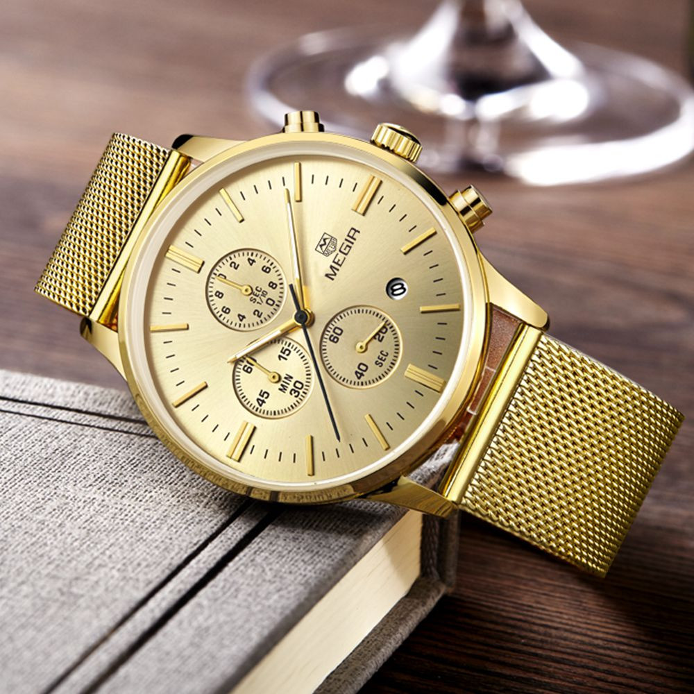 Fashion Men's Casual Quartz watch stainless steel mesh band gold watch Slim men watches Multi-function sports watches relogio fashion men s casual quartz watch stainless steel mesh band gold watch slim men watches multi function sports watches relogio