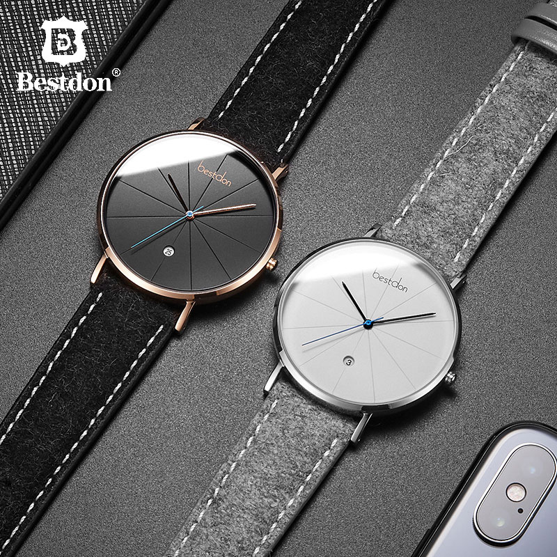 Bestdon Simple Luxury นาฬิกาข้อมือควอตซ์กันน้ำคลาสสิก Geek ชาย Minimalist ของขวัญนาฬิกาสำหรับ Man-ใน นาฬิกาควอตซ์ จาก นาฬิกาข้อมือ บน   1