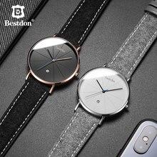 Bestdon Simple Mens relojes de lujo superior impermeable cuarzo reloj de pulsera clásica Geek minimalista hombre reloj regalo para hombre