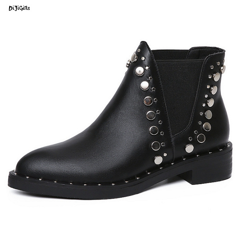 Women Fashion Rivet Ankle Boots Pointed Toe Black Shoes Woman Short Booties For Autumn Spring xwt03 pointed toe lace up women ankle boots fashion ladies autumn winter flat heels cuasual boots shoes woman motorcycle short booties