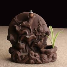 YXY Handmade Porcelain Lotus Ceramic Incense Burner Holder Backflow Incense Burner Office Decoration Home Aromatherapy Gift