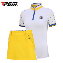 Send Belt ! Golf Apparel 2PCS Women's Short Sleeve T-Shirt + Skirt Spring Summer Sports Wear Suit Set Lady Clothes XS-XL Dry Fit цена в Москве и Питере