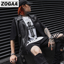 ZOGGA 2019 Spring Men Vest Night Club Rock Punk Locomotive Leather Solid Black with Hole Male Leisure Street Wear