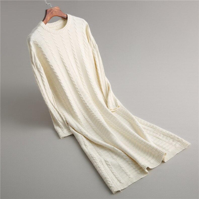 2019 nouvelle décontracté Slim robe mi-longue femmes hiver robe à manches longues o-cou solide femelle torsion tricoté pull robe Vestidos