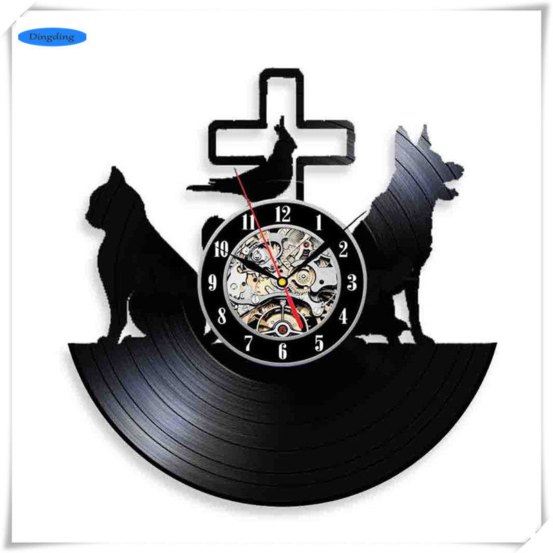 Pet Dog Theme 3D Exclusive Wall Clock Vinyl Record DIY Room Wall Art Sticker Home Decorations