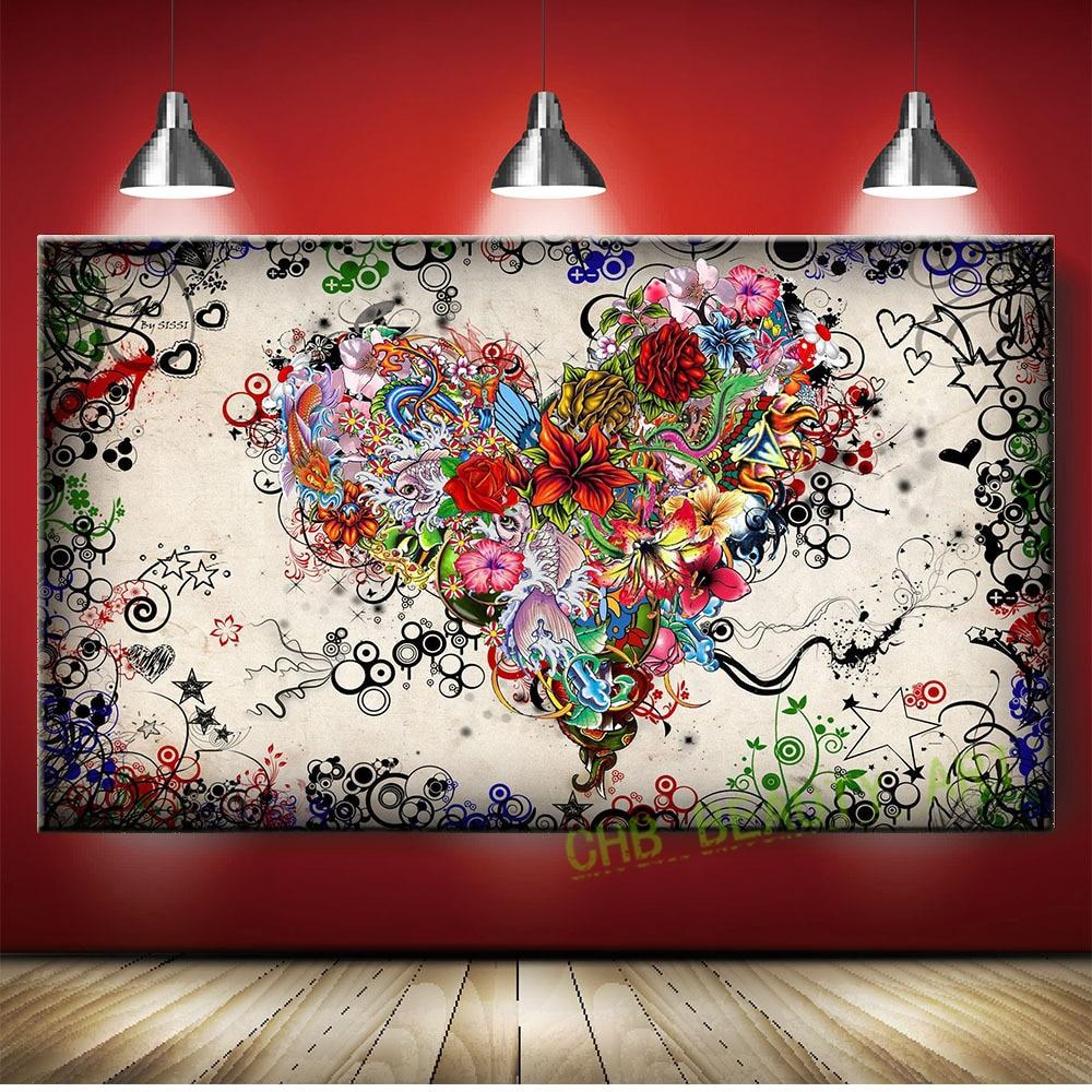 Grafitti art kopen - Graffiti Ontwerp Abstract Hart Bloemen Canvas Prints Schilderij Foto Decor Voor Woonkamer Unframed China