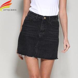 Image 1 - Streetwear קו ינס חצאית אביב קיץ 2020 נשים חדש כחול שחור כיסים גבוהה מותן מיני ג ינס חצאית באיכות גבוהה חצאיות