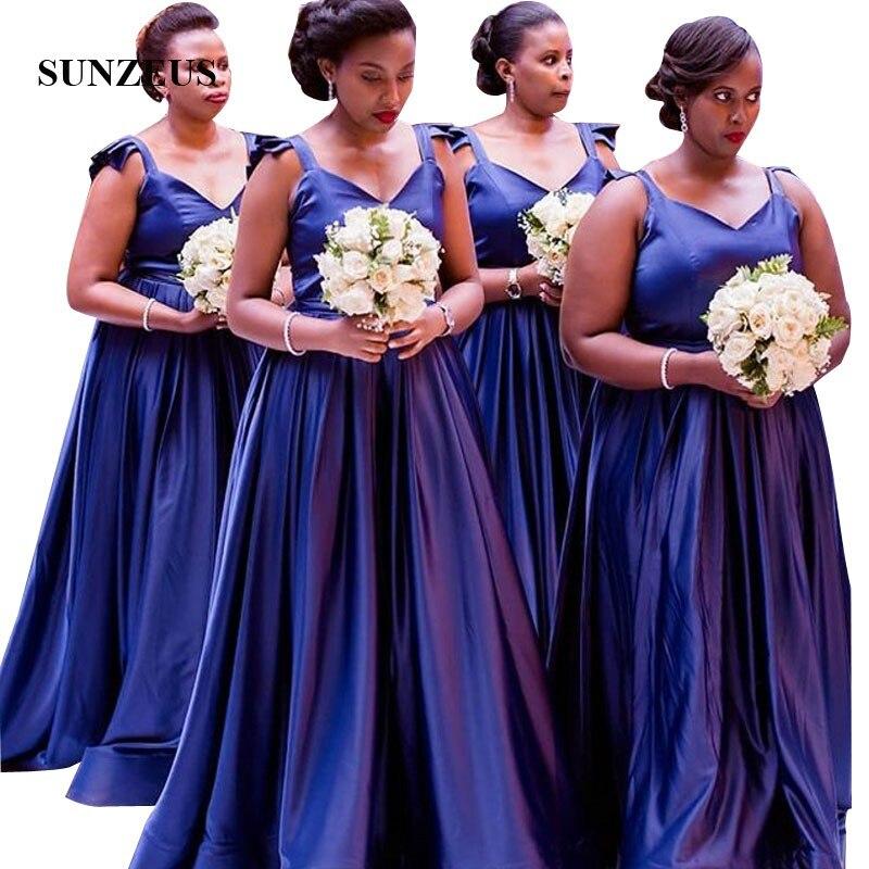 A-ligne bretelles chérie bleu marine robe de demoiselles d'honneur Simple élégant Satin formel longue robe africaine femmes robe de mariée