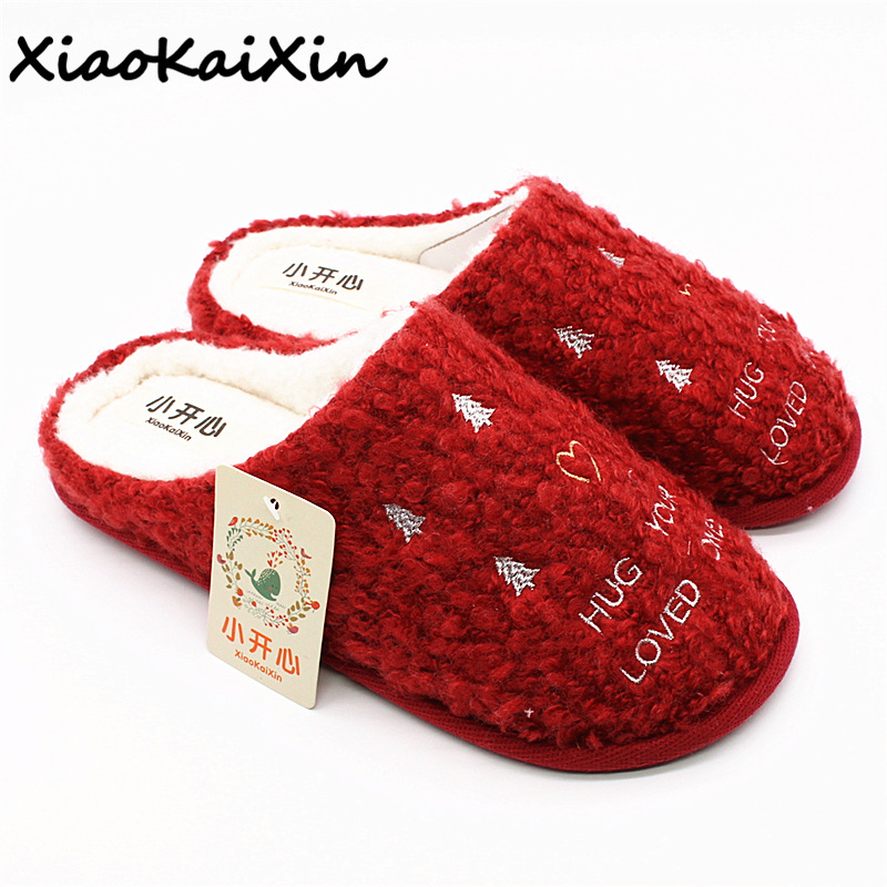New Christmas Style Cotton Slippers Women Winter Indoor Warm Plush Home Shoes Woman Red Snowflakes Ladies Slipper zapatillas women winter indoor home floor soft warm slippers house plush shoes christmas deer snowflake slipper socks