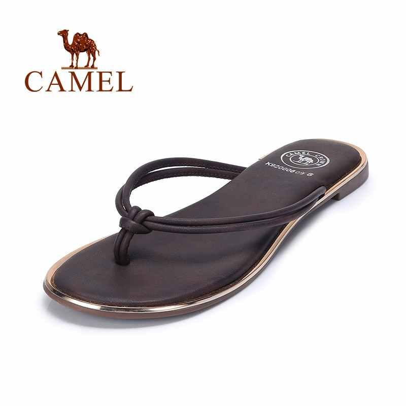 KAMEL frauen Hausschuhe Flip Flop Sommer Strand Flache Frauen Sandalen Thong Sandale Slip Auf Kleid Schuhe