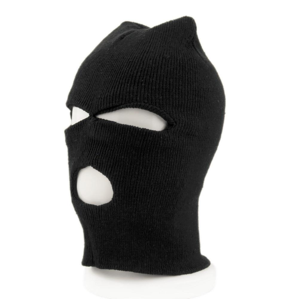 Black Balaclava 1 Hole Woolen Hat SAS Fishing Army Camping Hiking Open Face
