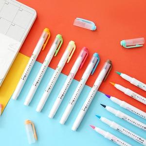 Image 5 - 5pcs Zebra New WFT8 Mildliner Brush Double head Highlighter Set Marker pen Journal Stationery Supplies Kawaii