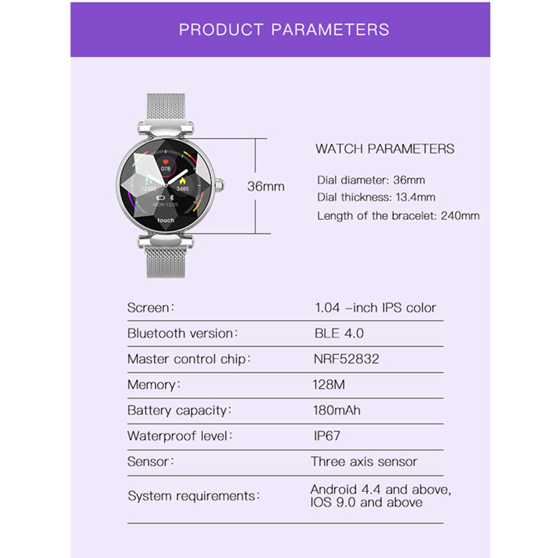 696 nueva moda de la mujer inteligente reloj pulsera de la salud deportes pulsera sangre oxígeno Monitor de ritmo cardíaco ciclo Menstrual femenino cuidado