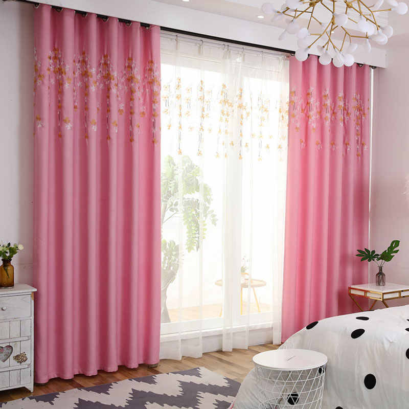 Cartoon Sweet Pink Princess Curtains For Living Room Children White Embroidery Tulle Curtains For Baby Girls Bedroom