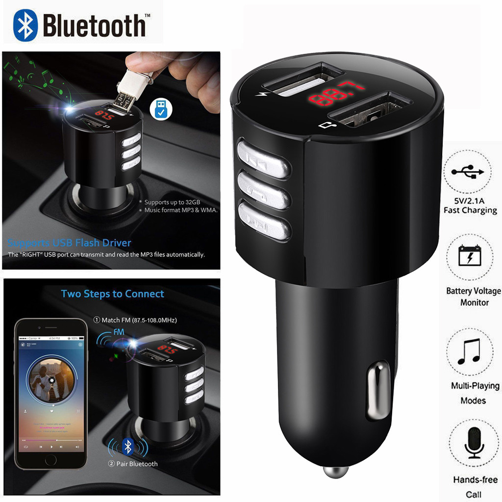 Car Kit Handsfree Wireless Bluetooth FM Transmitter MP3 Player USB Charger 3.4A Car Accessories Handsfree Auto FM NEW