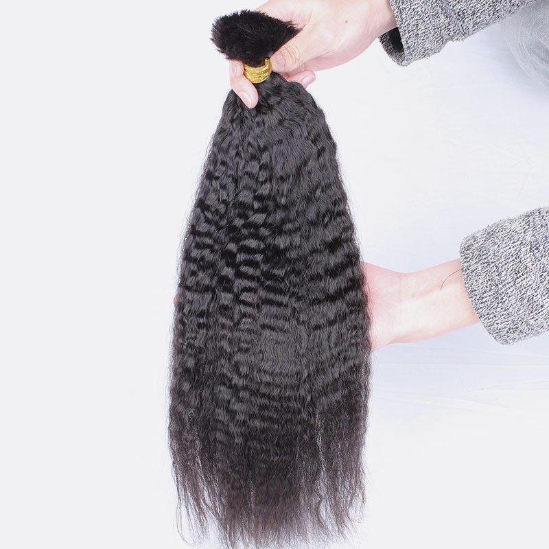 Kinky Straight Human Braiding Hair Bulk No Attachment Bulk Hair For Braiding 1Pc Braids You May Remy Hair Extensions