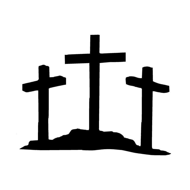 9.5*7.6CM Three Cross Jesus Christian Car Stickers Cartoon ...
