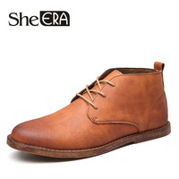 She ERA Autumn Men Leather Boots Lace Up Men Shoes British Fashion Ankle Tooling Ankle Boots For Male Popular Men Boots