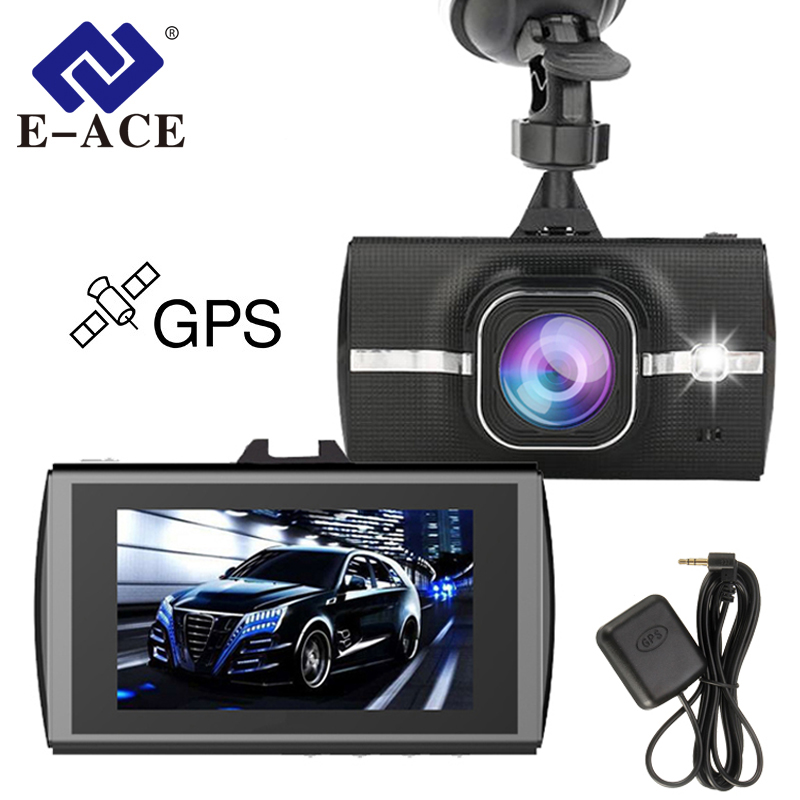 E-ACE Dvr Carro Com Rastreador GPS Traço Camera Full HD 1080 p Gravador de Vídeo ADAS LDWS Camcerder Night Vision Auto registro DVRs