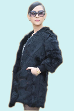 leather real fur  coat Fur cape 2014 leather hare wool medium-long outerwear female