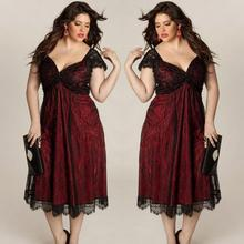 Plus Size Sleeveless Lace Prom Gown