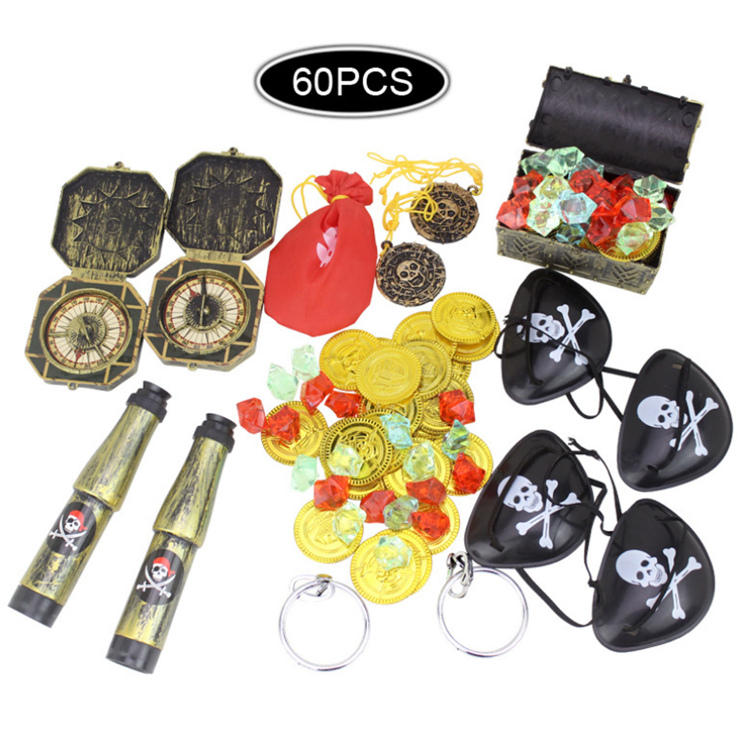 Besegad Kids Pirate Party Supplies Toys Gold Coins Compass Treasure Chest Box Telescopes Gems Eye Patches Earrings Medallions