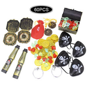 Toys Earrings Compass Chest-Box Telescopes Treasure Pirate Kids Gold Besegad Coins Party-Supplies