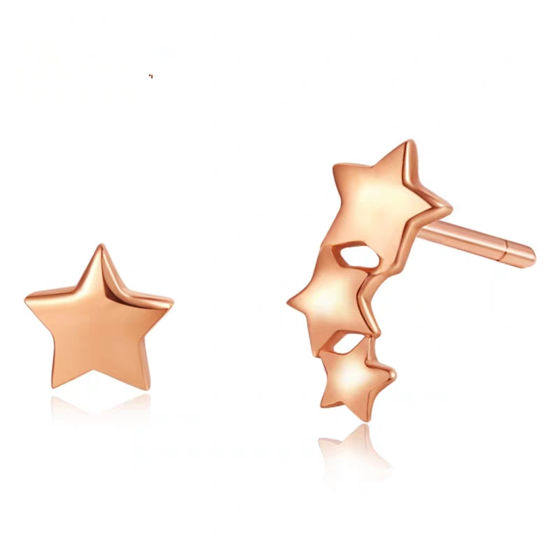 VOJEFEN 18K Rose Gold minimalist five-pointed star elegant Star stud earrings pierced earrings elegant asymmetrical Gold Stud VOJEFEN 18K Rose Gold minimalist five-pointed star elegant Star stud earrings pierced earrings elegant asymmetrical Gold Stud