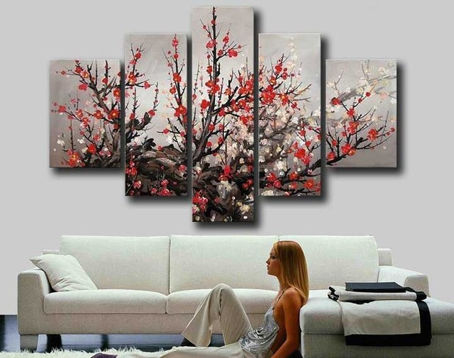 Framed hand painted modern large red plum blossom cherry blossom