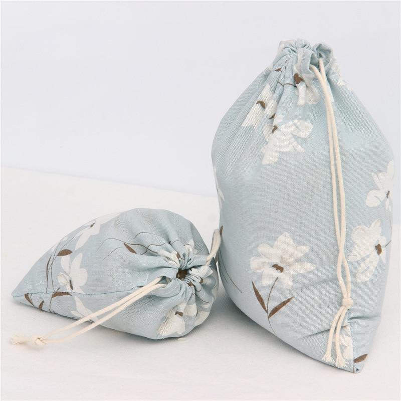 1pcs White Flower Blue Drawstring Cotton Linen Storage Bag Gift Candy Tea Organizer Makeup Cosmetic Coins keys Bags 49003