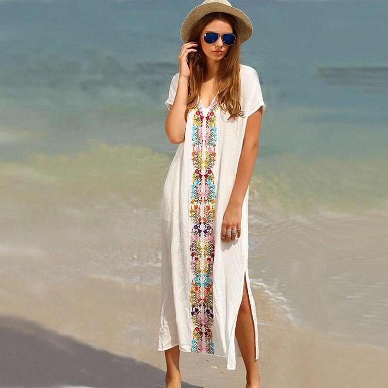 2018 Summer Beach Printed Women Dress Kaftan Sarongs Sexy Turkey robe formula Cover Up Bikini Swimwear Tunic Swimsuit Bathing