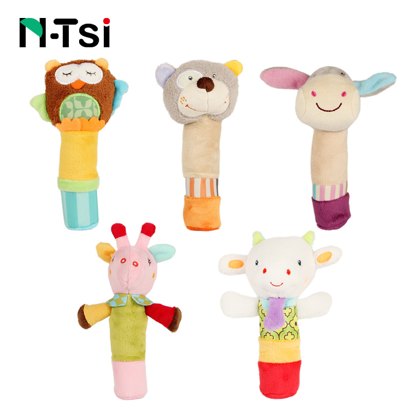 N-Tsi Lovely Plush Stuffed Owl Bear Donkey Giraffe Animal Baby Rattle Squeaky Sticks Toys Hand Bells for Children Newborn Gift