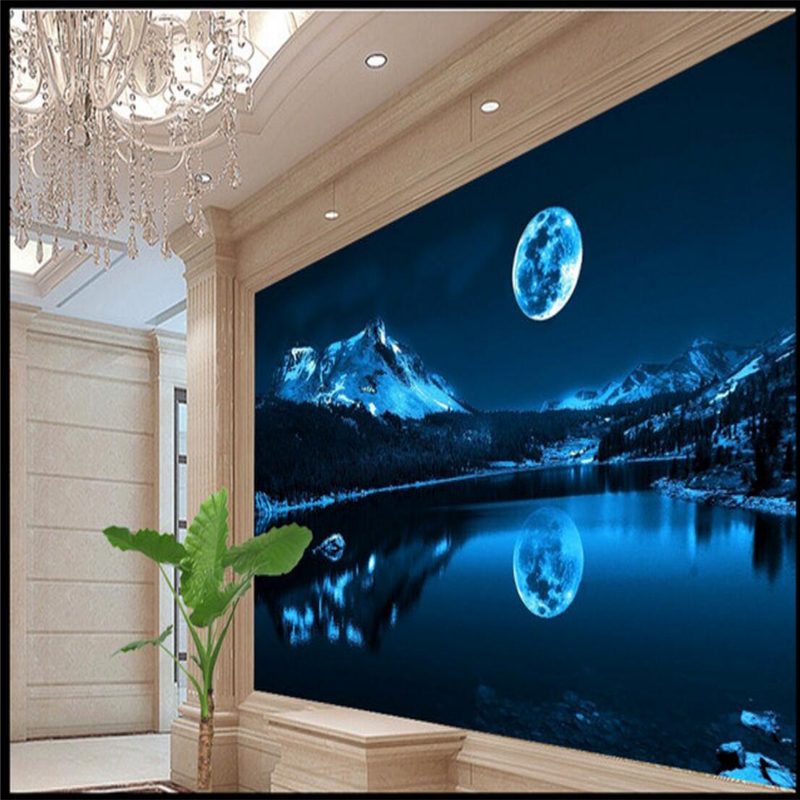 Beibehang Custom Wallpaper Wall Stickers 3D Large Frescoes Romantic Moon Lake Night Sky Modern Backdrop Decorative Painting