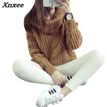 2018 new womens spring autumn winter thicken turtleneck pullover knitted sweaters women long slim sweater Xnxee