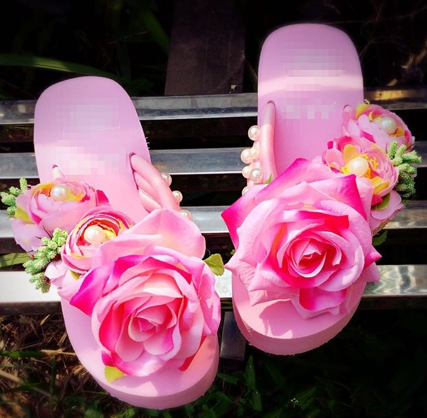 4ae39686a31809 Summer Style Red Rose Flower Sandals Women s Shoes High Heeled Wedges Buy  Platform Flip Flops Slippers