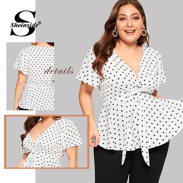 Sheinside Plus Size White Elegant Polka Dot Print Top Women 2019 Summer V Neck Knot Front Blouse Ladies Flared Hem Trim Tops 5