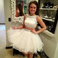 Two-piece New Summer Sexy Mini Short White Beaded Tulle Women Special occasion Party Cocktail Dresses robe de cocktail