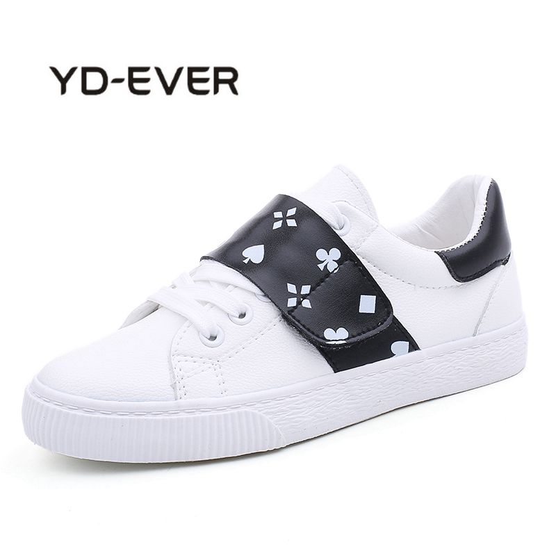 YD-EVER 2018 Leather Womens White Flat Sneakers New Fashion Hook & Loop Women Shoes Comfortable Woman Casual Shoes Footwear