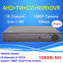 Hisi Chip Dahua Metal Case 16 Channel Two Sata 1080P/1080N/960P/720P/960H Five in One Hybrid TVi CVI NVR AHD DVR Free shipping