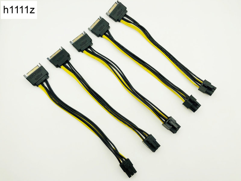 5PCS 20CM SATA To 6pin Graphics Card Power Cable SATA 15pin To 6pin PCIe PCI-e PCI Express Adapter Power Supply For Miner Mining